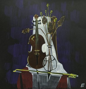 Натюрморт со скрипкой, зарисовка.
