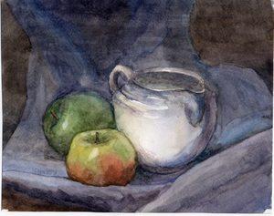 Молочник и яблоки