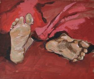 Ноги на красной ткани этюд