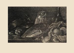 Литография   Натюрморт с лещом, апельсинами, чесноком, специями и кухонной утварью