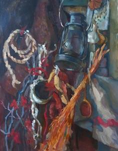 Этюд натюрморта с керасиновым фонарём