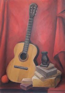 Красный натюрморт с гитарой