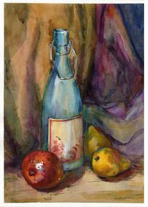 Натюрморт с голубой бутылкой