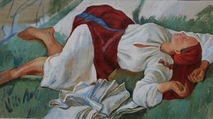 """Копия картины З. Е. Серебряковой """"Спящая крестьянка"""""""