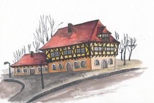 Дом с красной черепицей