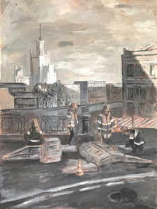 Рабочие. Городской пейзаж